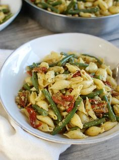 Pesto Pasta with Green Beans, Sun-dried Tomatoes, & toasted Pine Nuts   A Cedar Spoon
