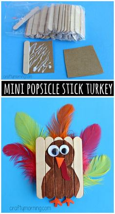 RP / Mini Popsicle Stick Turkey Art Project - Great Thanksgiving Crafts For Kids Thanksgiving Art Projects, Thanksgiving Activities, Crafts For Kids To Make, Art For Kids, Thanksgiving Turkey, Kids Diy, Popsicle Crafts, Craft Stick Crafts, Preschool Crafts