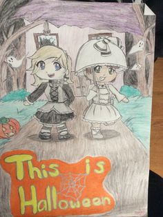 A Halloween drawing I did of my friend, Kim, and I as Chibis!