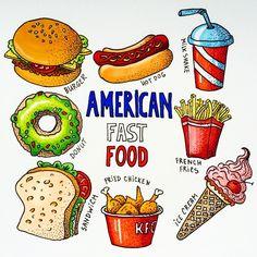 "667 Gostos, 14 Comentários - Ekaterina (@alexkipnis) no Instagram: ""The second theme in the marathon - American fast food harmful, but very tasty"""