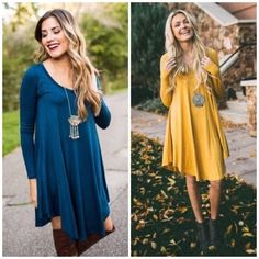 Perfect Fall V-Neck Tunic Dress - 7 Color Options