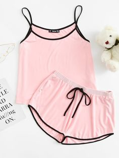 Stagioni Fashion for Women, Loungewear for Women. Item: Contrast Binding Cami Top & Drawstring Waist Shorts PJ Set for Women Cute Pajama Sets, Cute Pajamas, Pajamas Women, Cute Lazy Outfits, Trendy Outfits, Summer Outfits, Teen Fashion Outfits, Mode Outfits, Girl Outfits