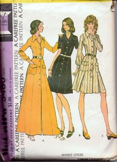 McCall's 3480 Ladies DressDisco Vintage 1970's Sewing Pattern Retro Style Clothing #1970s #dress #ladies #mccalls #vintage #patterns #sewing #retro #vintagestitching