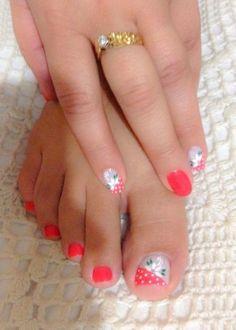 Matching Pedicure and Manicuer Pedicure Designs, Pedicure Nail Art, Toe Nail Designs, Toe Nail Art, Cute Toe Nails, Pretty Nails, Gel Nails, Acrylic Nails, Nail Polish