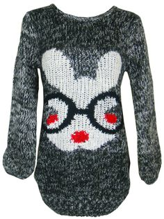 Womens Ladies Bunny Rabbit Wool Knit Jumper Knitted Top