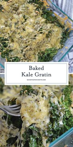 This Baked Kale Gratin is one of the best kale recipes! You'll never have to wonder how to cook kale after you've tried this cheesy goodness! #bakedkalegratin #bestkalerecipes #kalerecipes #kalegratin www.savoryexperiments.com