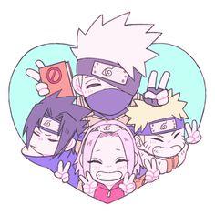 Team 7 Kakashi Hatake ,Naruto Uzumaki,Sakura Haruno , and Sasuke Uchiha Naruto Team 7, Naruto Kakashi, Anime Naruto, Naruto Chibi, Naruto Cute, Naruto Shippuden Anime, Boruto, Chibi Naruto Characters, Sasunaru