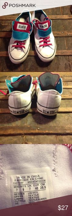 🎈JUST IN🎈Women's Size 9 White Converse White with Pink/Teal Tongues great shape Converse Shoes Sneakers