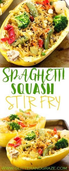 spaghetti squash stir fry is an easy and healthy meal for two that is even vegetarian. Have some Chinese food without feeling guilty. Easy Healthy Dinners, Healthy Cooking, Asian Recipes, Healthy Dinner Recipes, Vegetarian Recipes, Healthy Eating, Easy Recipes For Two, Cooking Zucchini, Easy Meals For Two