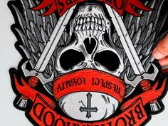 Brotherhood of Bikers Respect and Loyalty Skull Large Biker Back Patch Biker Back Patches, Biker Wear, Leather Vest, Loyalty, Bikers, Black And Grey, Skull, Respect, Skulls