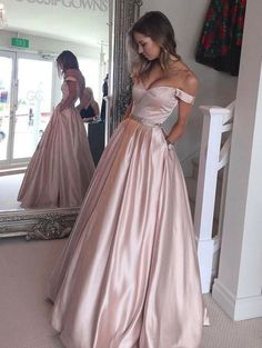Simple A-line Off the shoulder Pink Long Prom Dress with Pocket
