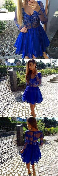 60d3f26d1204 A-Line Deep V-Neck Long Sleeves Royal Blue Chiffon Short Homecoming Dress  with Lace