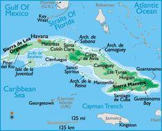Map of Cuba showing the majority of major cities | Cuba | Pinterest ...
