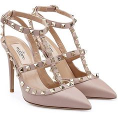 Valentino Rockstud Leather Pumps (£550) ❤ liked on Polyvore featuring shoes, pumps, heels, sandals, rose, stiletto pumps, pointy toe ankle strap pumps, pointy-toe pumps, stiletto heel pumps and ankle strap pumps