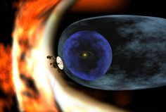 This artist's rendering depicts NASA's Voyager 2 spacecraft as it studies the outer limits of the heliosphere-a magnetic 'bubble' around the solar system that is created by the solar wind. The magnetic bubble is not spherical, but pressed inward in the southern hemisphere, according to recent data published as part of a series of papers.