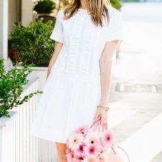 White pleated drop waist dress Perfect for summer! 100% cotton drop waist shift dress. Lightweight. Back keyhole. Only worn once! kate spade Dresses Mini