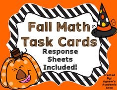 **Great for Math Centers**These 24 fall task cards are great for any classroom! Just print and laminate and students can work independently at their own pace or in small groups such as centers. I have included response sheets for all activities (4 to a page) plus an option for students to complete all 24 activities on one front to back copy.*COLOR AND BLACK AND WHITE COPIES OF TASK CARDS INCLUDED!