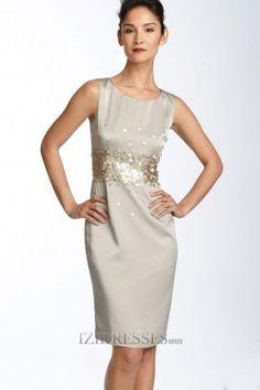 Sheath/Column High Neck Satin Mother Of The Bride Dresses - IZIDRESSES.COM