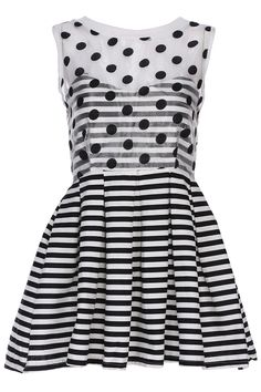 Polka dots and stripes on a dress :) Love the sheer part