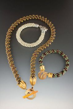 .Kumihimo- I've ordered the book and want to learn to make these beautiful cords. Love these made from beaded strands.