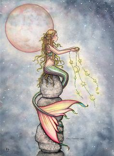 """""Star Filled Sky"" Mermaid Art by Molly Harrison"" by Molly Harrison | Redbubble"