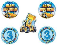 Bull DOZER Loader Construction TRUCKS Yellow 3rd BIRTHDAY Party MYLAR Balloons