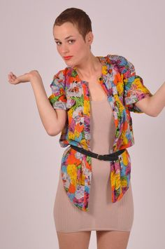 Tropical feeling // colourful short sleeve vintage blouse on Etsy, $52.81 AUD