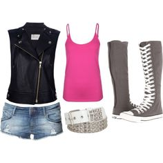 black leather vest with pink tank top, blue denim shorts, white studded belt, gray knee high converse Shorts And Converse, Outfits With Converse, Rock Outfits, Cute Outfits, Zara Shorts, Amazing Outfits, Converse Sneakers, Denim Shorts, Korean Summer Outfits