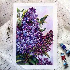 Watercolor Sketch, Watercolor Flowers, Watercolor Paintings, Landscape Paintings, Lilac Painting, Acrilic Paintings, Illusion Art, Color Pencil Art, Sketchbook Inspiration