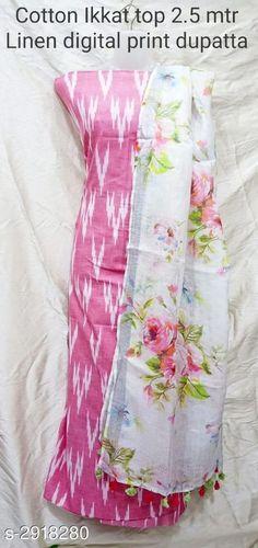 Ikkat cotton Suits with Linen Dupatta : free COD WhatsApp Kurta Designs Women, Blouse Designs, Churidar Designs, Dress Designs, Salwar Dress, Salwar Suits, Saree Blouse, Anarkali, Ikkat Dresses