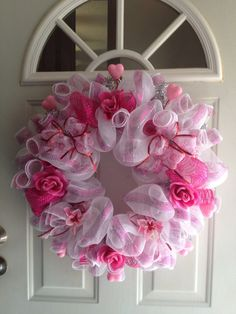 Valentine deco mesh wreath by DebsDazzlingDeco on Etsy, $35.00