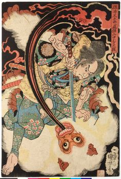 Usui Matagoro slays a giant white monkey in the mountains of Hida, ca. 1834-35…