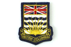 Vintage BC British Columbia Canada Embroidered Iron-On Patch Souvenir