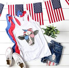 Patriotic USA Cow Tank Top for Women of July Shirt for Women Fourth of July Shirt Memorial Day Shirt of July Tank Top for Women of July Outfit American Flag Heifer Shirt Funny 4th Of July, Fourth Of July Shirts, 4th Of July Outfits, Patriotic Shirts, Summer Outfits, Cute Outfits, Cow Shirt, American Apparel, American Flag