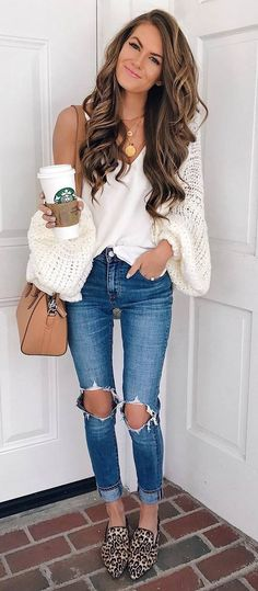 cute fall outfit / knit cardi + top + jeans + bag + animal printed loafers