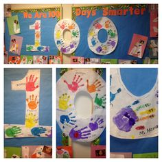 100 Days of School Ideas Bulletin board - 100 fingers