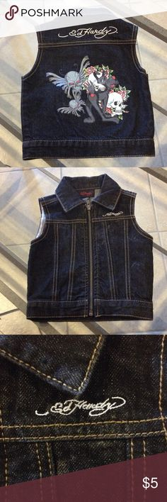 Size 12 mo Ed Hardy vest good condition Size 12 months Ed Hardy Jean vest good condition Ed Hardy Jackets & Coats Vests