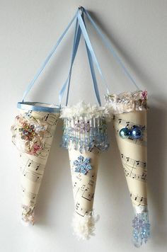 3 Blue Christmas Party Favor Paper Cones by AlteredEcoDesigns