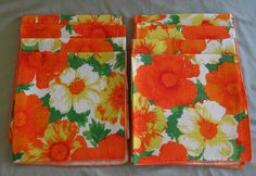 Bright Multicolored Linen Floral Napkins (Set of Eight) in Mint, Unused Condition