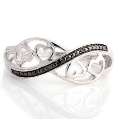 Round Cut Black Diamond Sterling Silver Infinity Ring Size 5 #Infinity