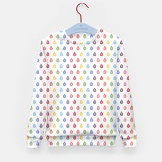 """""""Rainbow raindrops"""" Kid's Sweater by @savousepate on Live Heroes #sweatshirt #kidsclothing #kidsapparel #pattern #watercolor #abstract  #rain #raindrops #drops #droplets #colorful #multicolor #rainbowcolors #white #red #orange #yellow #green #blue #purple #pink"""