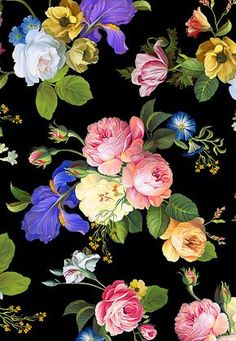 Catherine - Rembrandt Spring - Black - DIGITAL PRINT-Quilt Fabrics from www.eQuilter.com