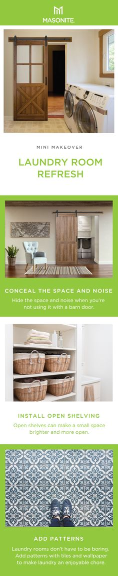 Instantly transform a room, adding functionality and character to any space with Masonite Complete Barn Door Kits. Learn more about sliding barn doors and how to install one in your home. Open Shelving, Shelves, Door Kits, Diy Barn Door, Interior Barn Doors, Laundry Room, Small Spaces, Tiles, Easy