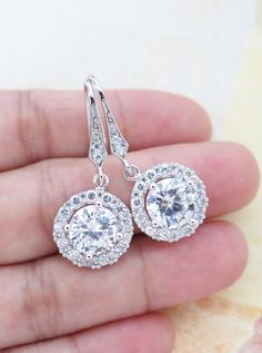 Heather -  Luxe Cubic Zirconia Round Drop Earrings, Halo style crystal earrings, Silver bridesmaid earrings, brides wedding jewelry