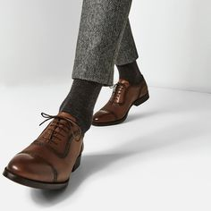 Image 1 of BROGUED LEATHER OXFORD SHOES from Zara More