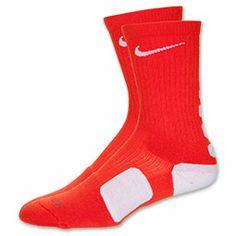 Men's Nike Elite Basketball Crew Socks - Medium| FinishLine.com | Orange/ White