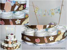 Windeltorte für Celina  http://eris-kreativwerkstatt.blogspot.de/2015/01/windeltorte-fur-celina.html  #Baby #StampinUp #Windeltorte #Wimpelkette