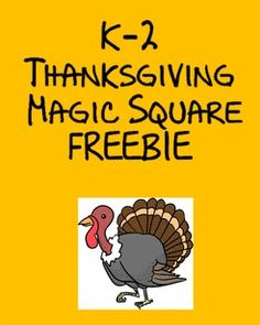 FREE Magic Square Puzzles help students learn the various vocabulary associated with the Thanksgiving holiday! Great for ESL/ENL/ELL students, but all students will LOVE these!