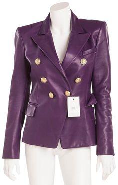 Balmain Purple Blazer Jacket Size 8 (M) Purple Blazers, Leather Blazer, Purple Leather, Blazer Jacket, Balmain, Double Breasted, Luxury Fashion, Fashion Outfits, Rachel Zoe