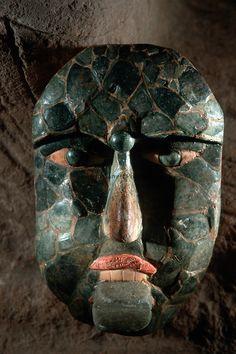 Maya  Jade and exotic shell funerary mask, Oxkintok, Mexico